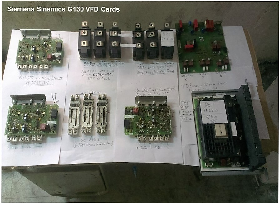 VFD converter thyristors and inverter IGBT cards