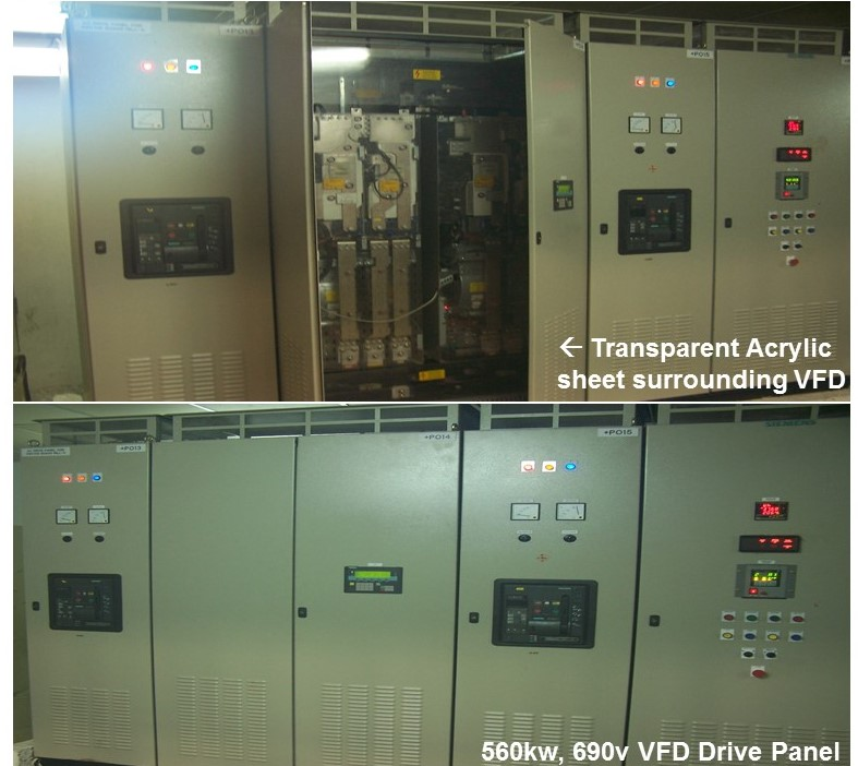 Siemens Sinamics G130 VFD drive panel, 690v for 560kw Mill Motor